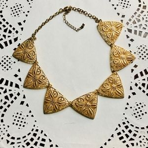 Golden filigree floral Theme Triangle Necklace